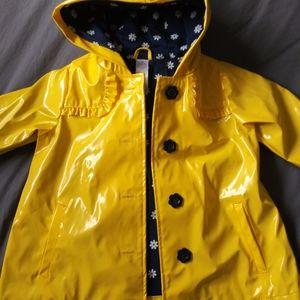 Girls 2T yellow blue flower raincoat New!